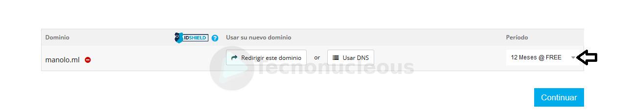 Freenom elegir duración del dominio