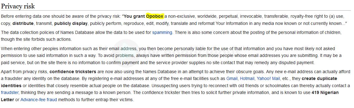 Privacidad Name Database