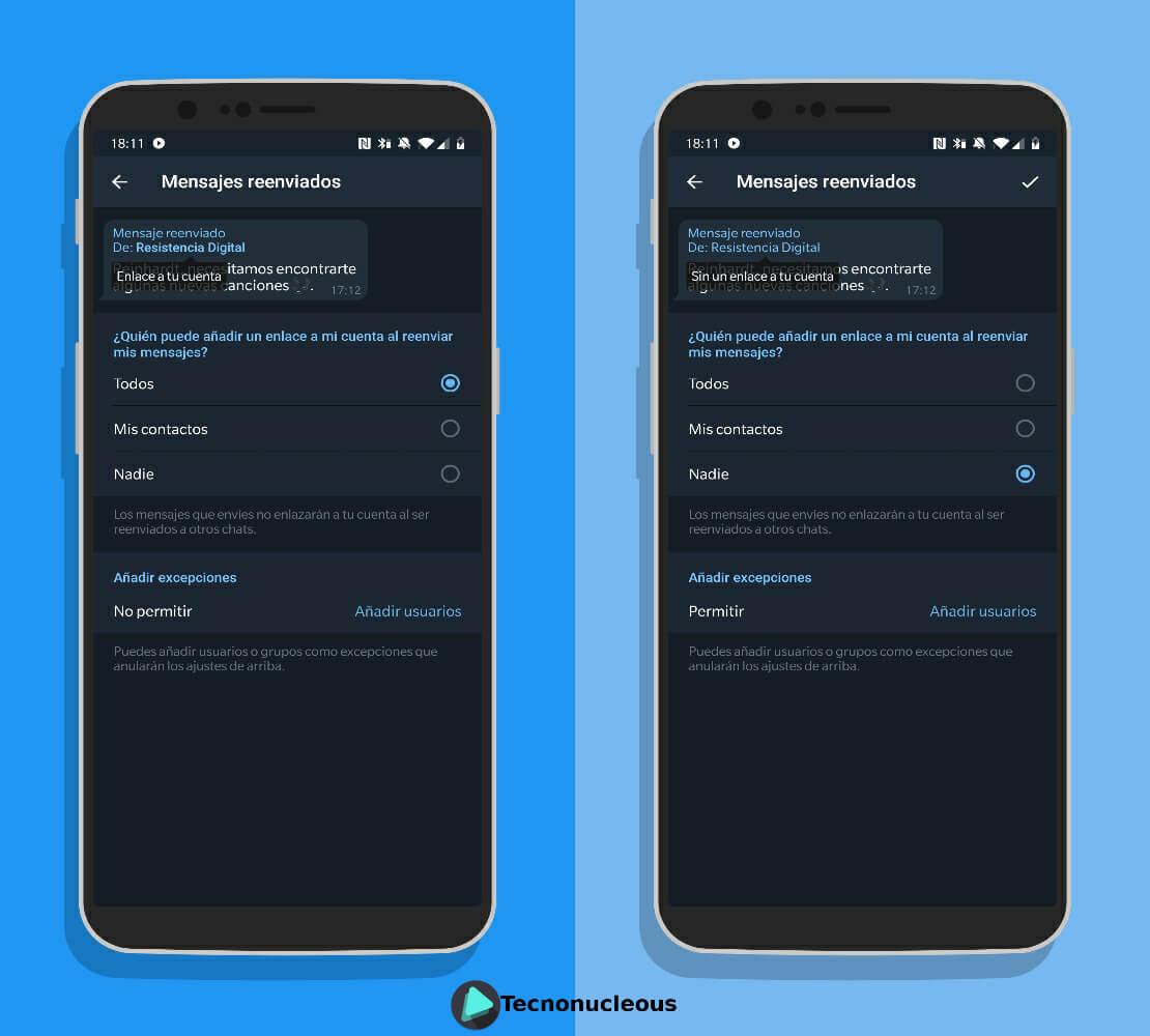 Opciones mensajes reenviados Telegram