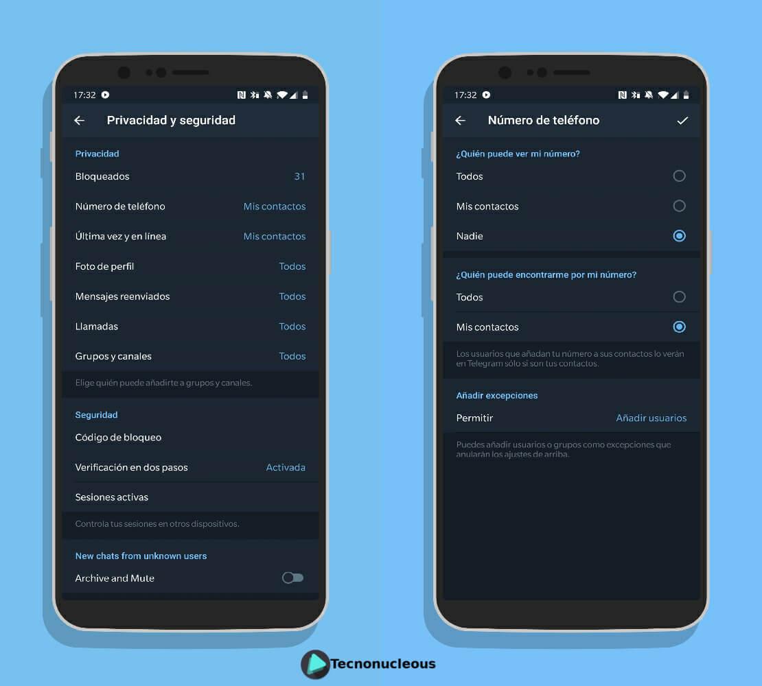 Opciones número teléfono Telegram