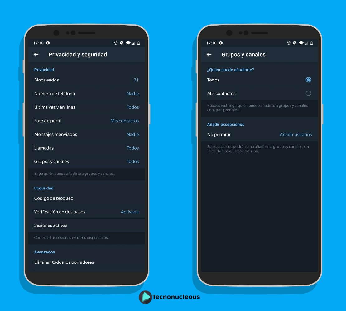 ¿Quién puede añadirme a grupos y canales de Telegram?