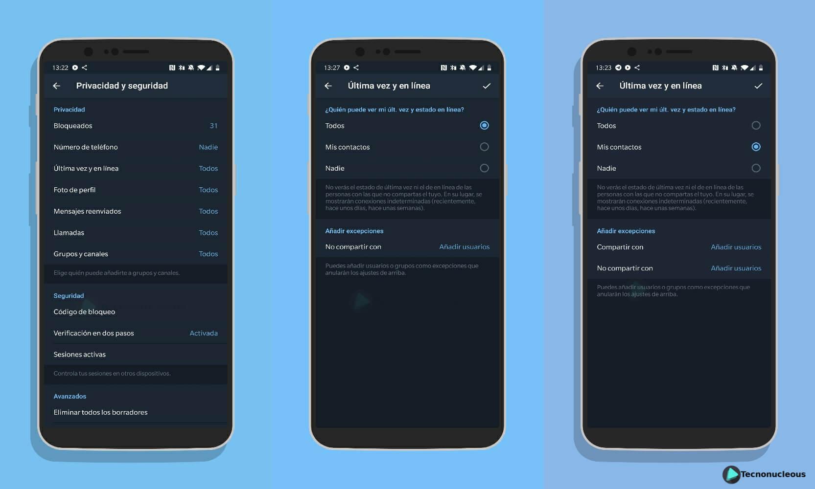 Modificar opciones Última vez y en línea Telegram