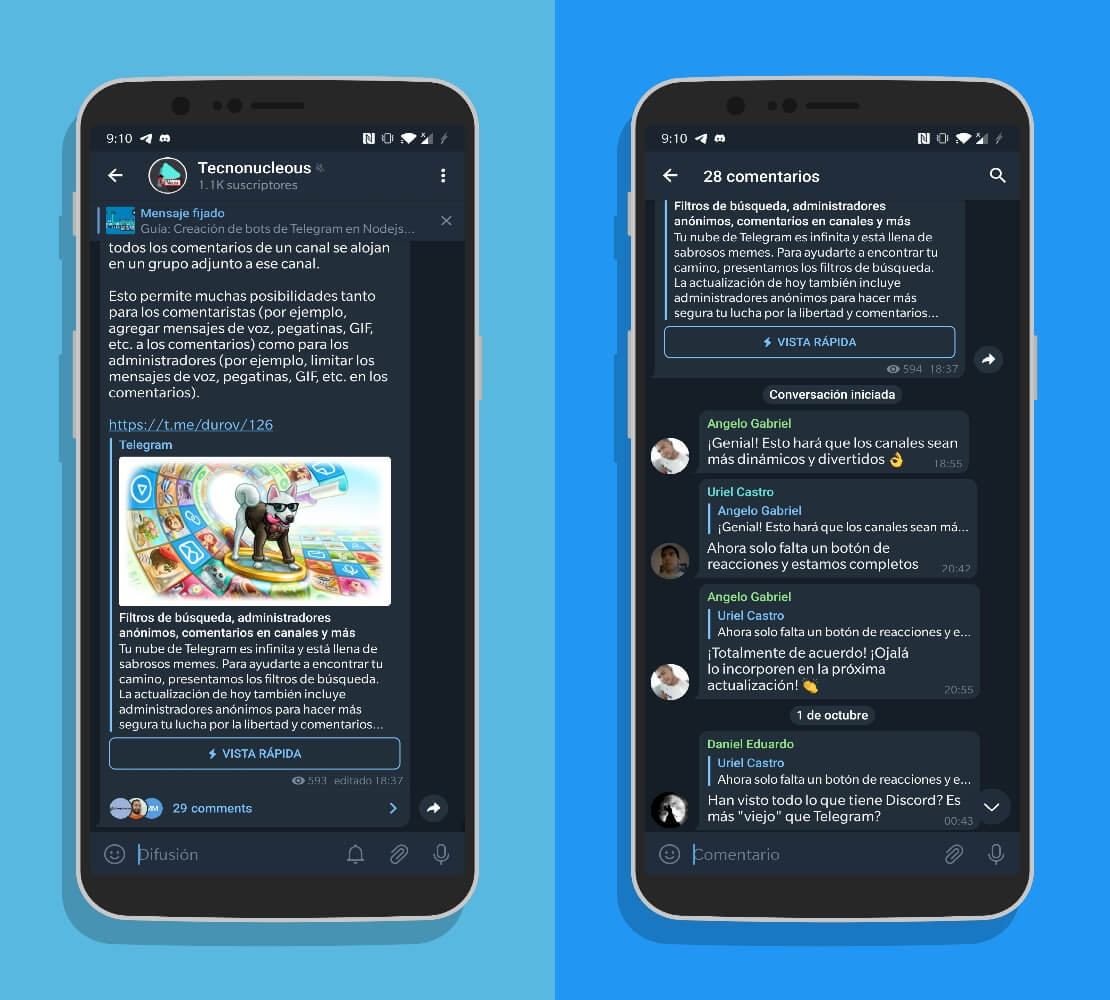 Telegram 7.1 comentarios en los canales