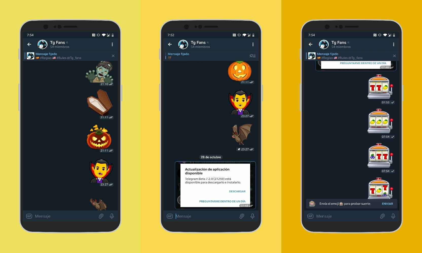 Telegram 7.2 emojis animados