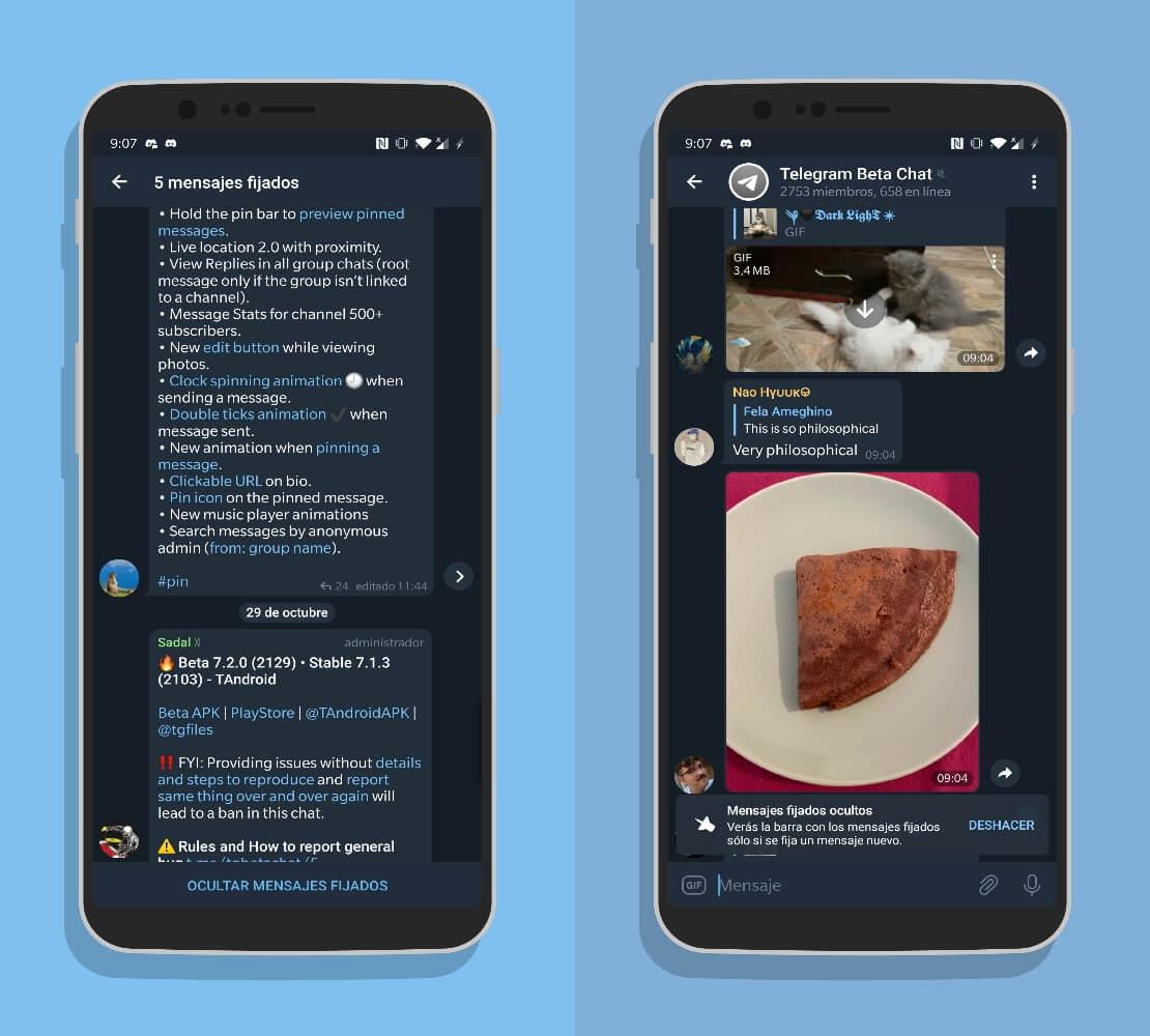 Telegram 7.2 ocultar mensajes anclados