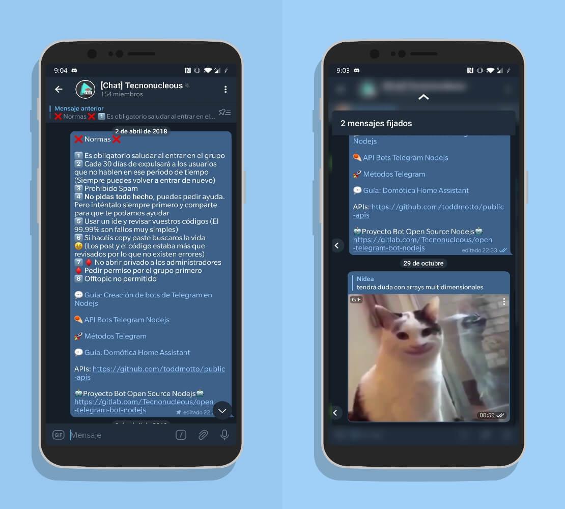 Telegram 7.2 preview mensajes anclados