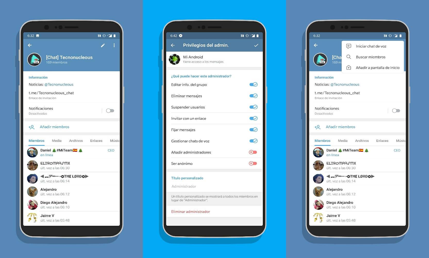 Iniciar chat de voz en Telegram