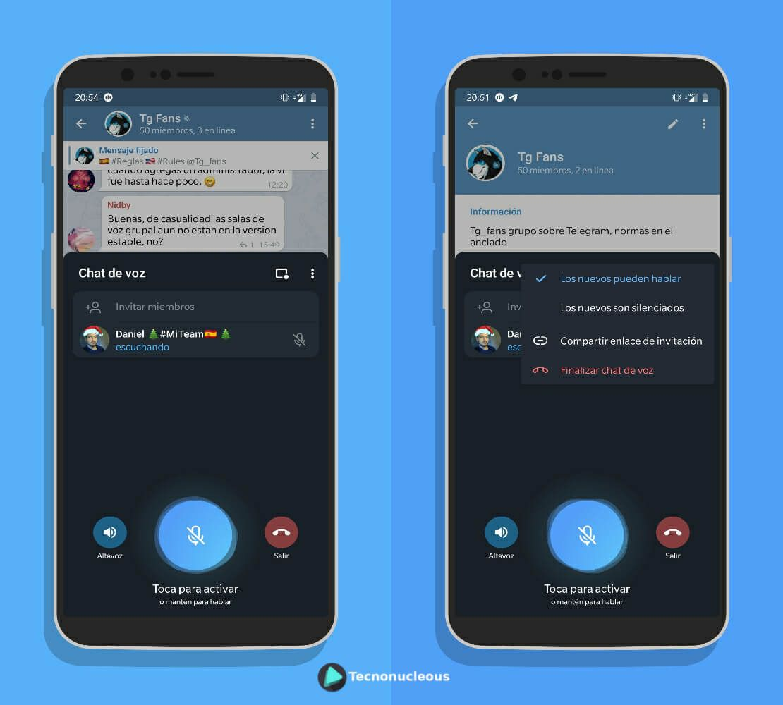Modificar ajustes chat de voz Telegram