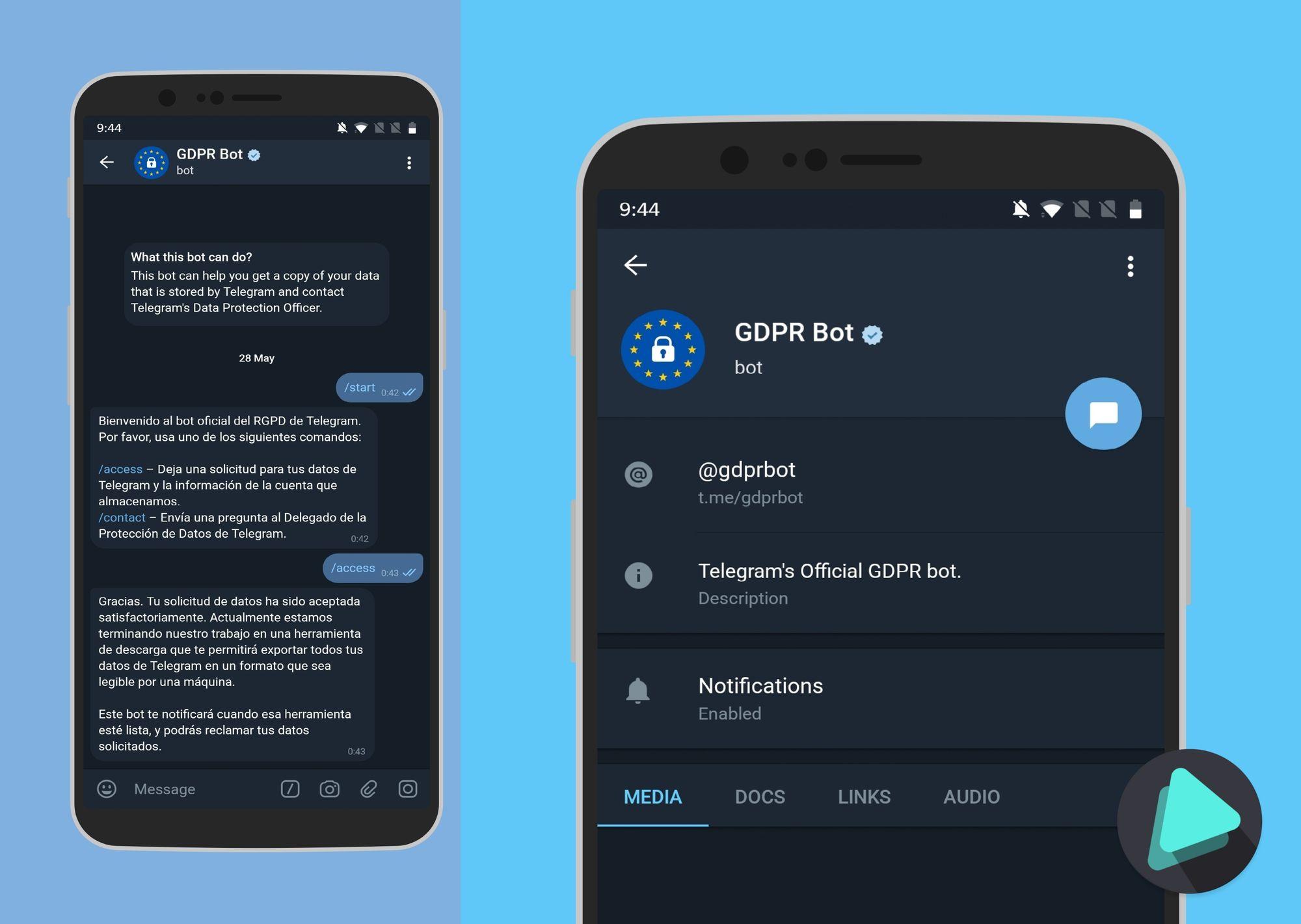 @Gdprbot : El bot oficial de Telegram para ver tus datos y la información de tu cuenta que almacena Telegram