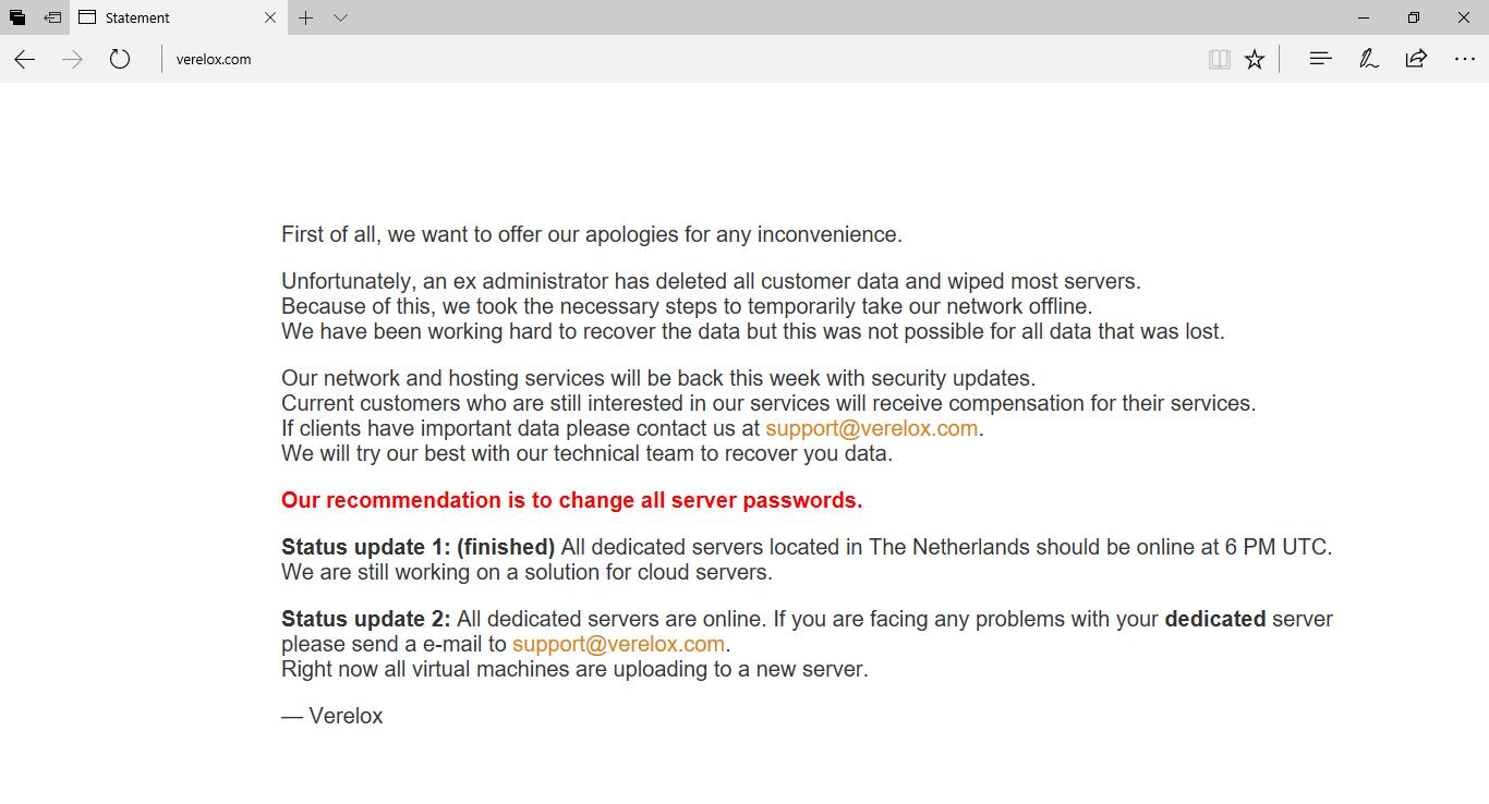Un exempleado de Verelox borra los servidores y datos de los clientes