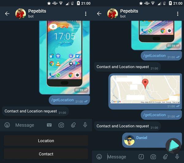 Solicitar número de contacto o ubicación de una persona mediante un bot de telegram en nodejs?