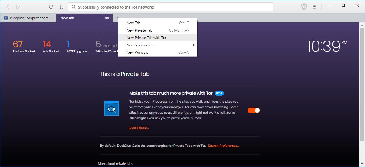 Brave Browser agrega soporte para  la navegación privada con integración Tor