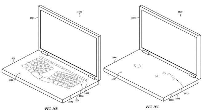 Patente de Apple revela un MacBook con teclado virtual y trackpad invisible
