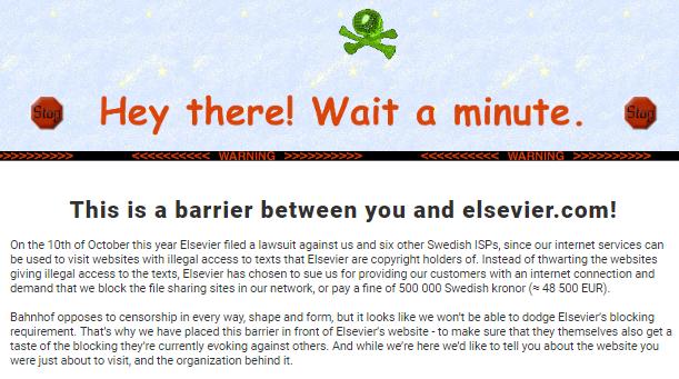 El ISP sueco Bahnhof bloquea Elsevier por obligarle a bloquear Sci-Hub