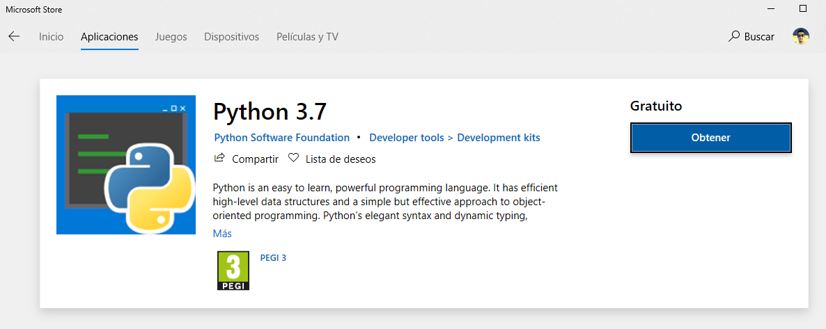 Python 3.7 disponible en la tienda de Windows 10