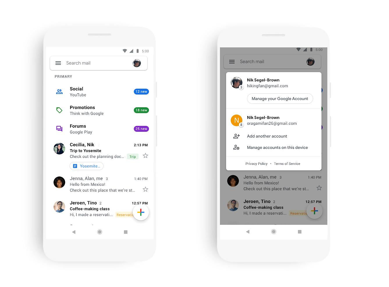 Gmail para Android e iOS recibe una nueva apariencia Material Desing